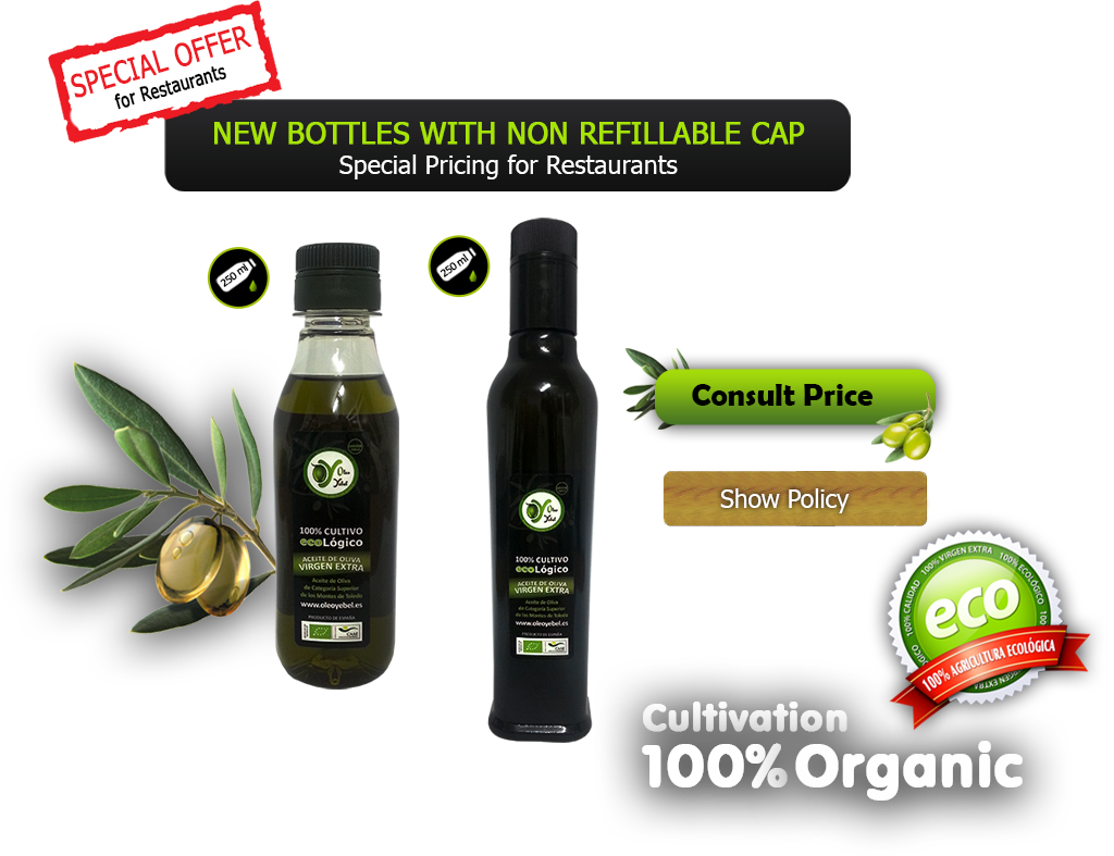 Organic oil cap non refillable bottles with special prices for Restaurants